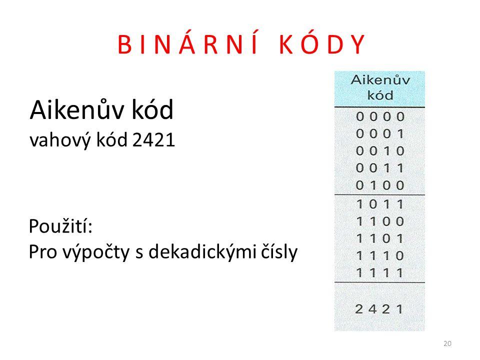 B I N Á R N Í K Ó D Y Aikenův kód vahový kód 2421 Použití: Pro výpočty s dekadickými čísly 20