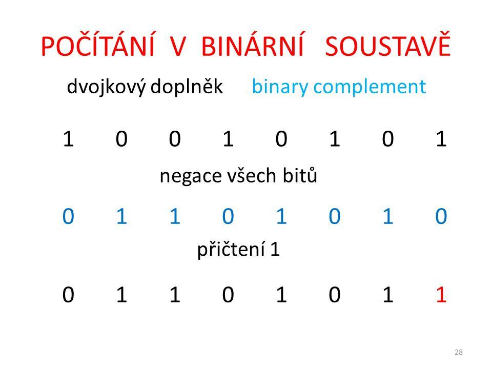 28 POČÍTÁNÍ V BINÁRNÍ SOUSTAVĚ dvojkový doplněk binary complement 10010101 negace všech bitů 01101010 přičtení 1 01101011