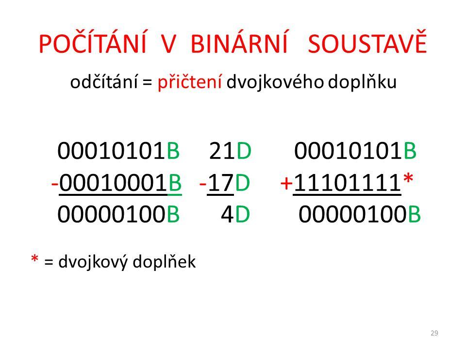 29 POČÍTÁNÍ V BINÁRNÍ SOUSTAVĚ odčítání = přičtení dvojkového doplňku 00010101B 21D 00010101B -00010001B -17D +11101111* 00000100B 4D 00000100B * = dvojkový doplňek