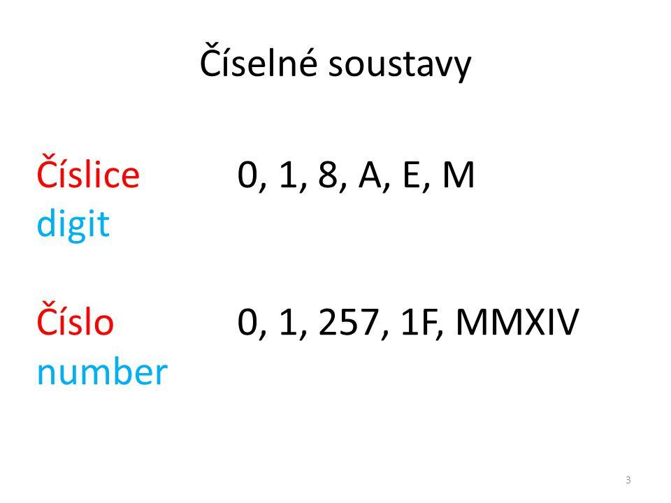 Číselné soustavy Číslice0, 1, 8, A, E, M digit Číslo0, 1, 257, 1F, MMXIV number 3