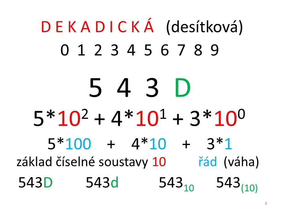 D E K A D I C K Á (desítková) 0 1 2 3 4 5 6 7 8 9 5 4 3 D 5*10 2 + 4*10 1 + 3*10 0 5*100 + 4*10 + 3*1 základ číselné soustavy 10 řád (váha) 543D 543d 543 10 543 (10) 4