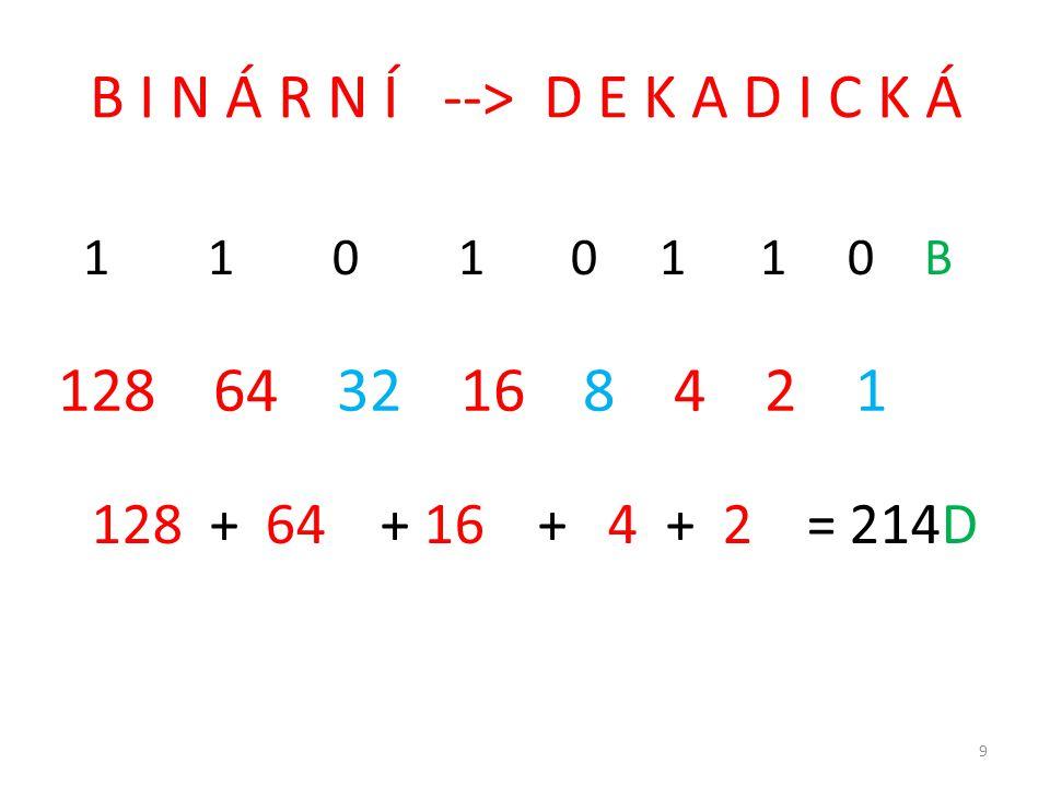 B I N Á R N Í --> D E K A D I C K Á 1 1 0 1 0 1 1 0 B 128 64 32 16 8 4 2 1 128 + 64 + 16 + 4 + 2 = 214D 9