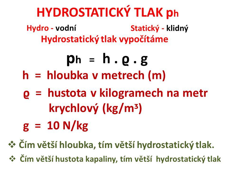 HYDROSTATICKÝ TLAK p h Hydro - vodní Statický - klidný Hydrostatický tlak vypočítáme p h = h. ϱ. g h = hloubka v metrech (m) ϱ = hustota v kilogramech