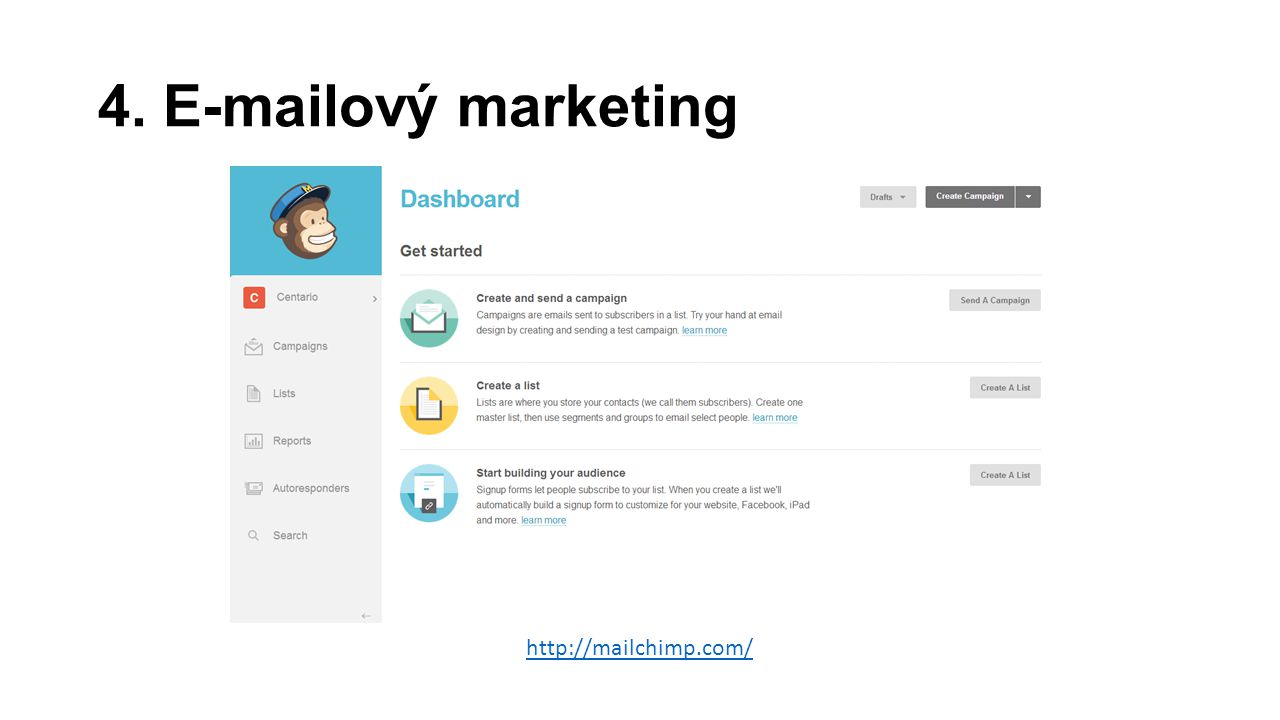 4. E-mailový marketing http://mailchimp.com/