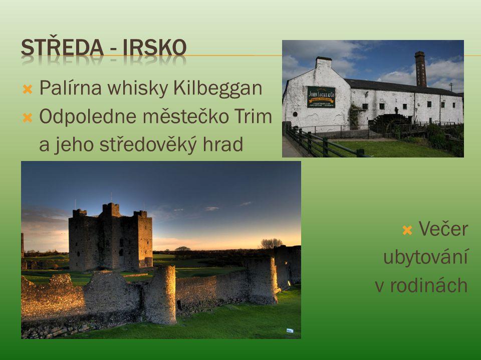  Palírna whisky Kilbeggan  Odpoledne městečko Trim a jeho středověký hrad  Večer ubytování v rodinách