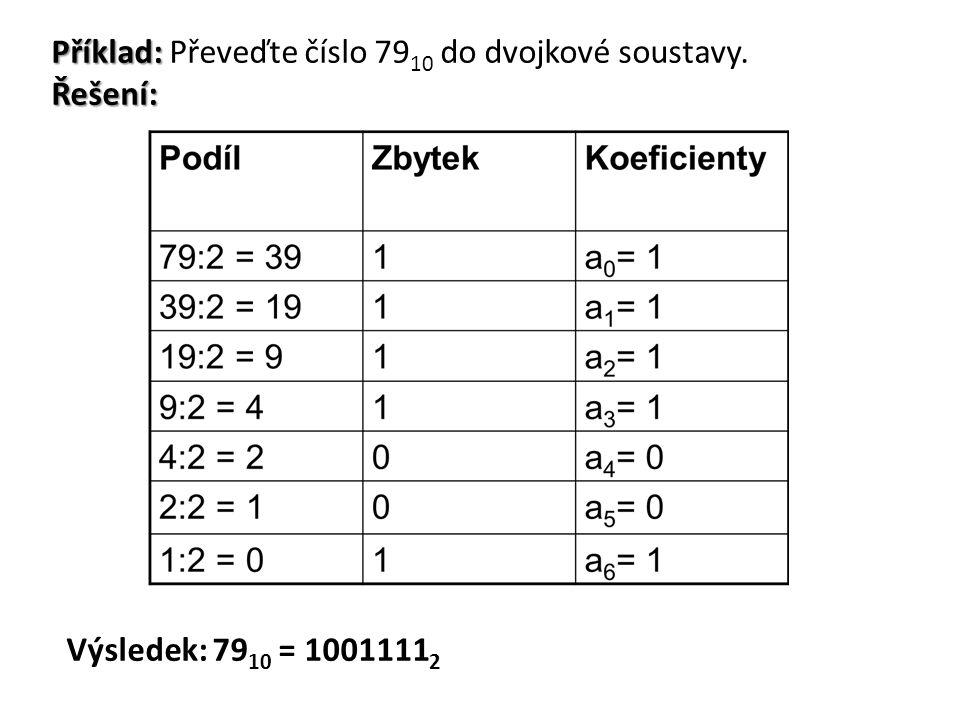 Příklad: Řešení: Příklad: Převeďte číslo 79 10 do dvojkové soustavy. Řešení: Výsledek: 79 10 = 1001111 2