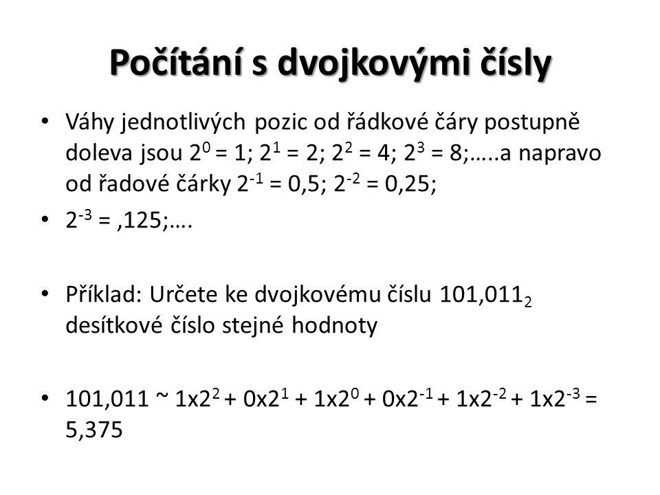 Počítání s dvojkovými čísly Váhy jednotlivých pozic od řádkové čáry postupně doleva jsou 2 0 = 1; 2 1 = 2; 2 2 = 4; 2 3 = 8;…..a napravo od řadové čárky 2 -1 = 0,5; 2 -2 = 0,25; 2 -3 =,125;….