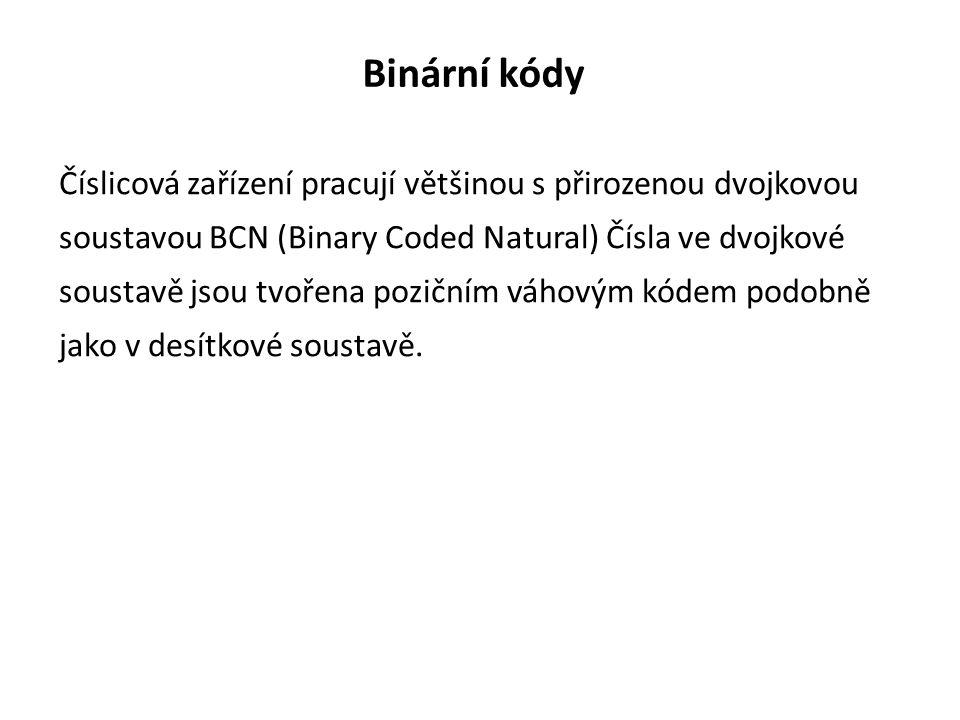 Binární kódy Číslicová zařízení pracují většinou s přirozenou dvojkovou soustavou BCN (Binary Coded Natural) Čísla ve dvojkové soustavě jsou tvořena pozičním váhovým kódem podobně jako v desítkové soustavě.