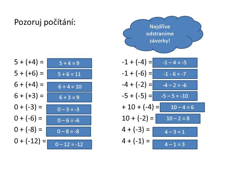 Pozoruj počítání: 5 + (+4) = 5 + (+6) = 6 + (+4) = 6 + (+3) = 0 + (-3) = 0 + (-6) = 0 + (-8) = 0 + (-12) = -1 + (-4) = -1 + (-6) = -4 + (-2) = -5 + (-