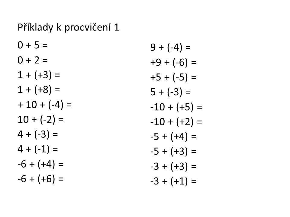 Příklady k procvičení 1 0 + 5 = 0 + 2 = 1 + (+3) = 1 + (+8) = + 10 + (-4) = 10 + (-2) = 4 + (-3) = 4 + (-1) = -6 + (+4) = -6 + (+6) = 9 + (-4) = +9 +