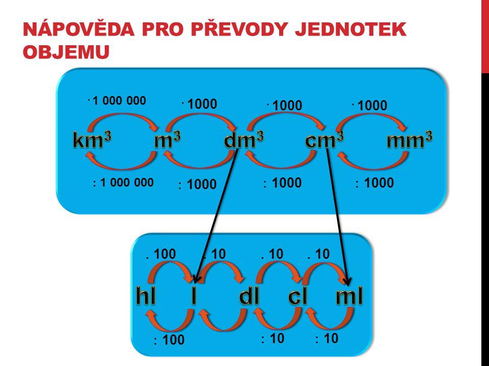 PŘEVODY JEDNOTEK OBJEMU 1 32 dm 3 = m 3 230 m 3 =mm 3 40000 mm 3 =dm 3 540 mm 3 =cm 3 230 cm 3 = m 3 3 200 000 mm 3 = km 3 3500 m 3 = km 3 6800 mm 3 = m 3 65500 dm 3 = km 3 4900 cm 3 =dm 3 0,032 230000000000 0,04 0,54 0,00023 0,0000000032 0,0035 0,0000068 0,0000000655 4,9
