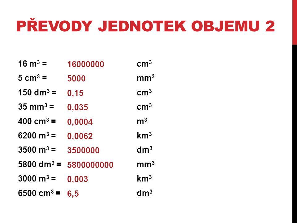 PŘEVODY JEDNOTEK OBJEMU 3 (K SAMOSTATNÉ PRÁCI) 123 mm 3 = cm 3 58,65 dm 3 =mm 3 0,35 m 3 =cm 3 458 mm 3 =cm 3 25,78 dm 3 = m 3 258000 dm 3 = km 3 0,025 mm 3 = dm 3 35000 cm 3 = mm 3 45800 m 3 = km 3 478200 mm 3 =dm 3 0,123 58650000 350000 0,458 0,02578 0,65 3,5 6,8 0,09 5,4