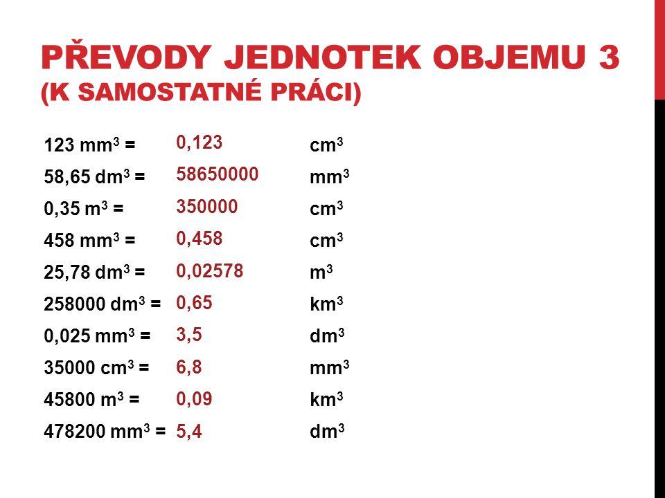 PŘEVODY JEDNOTEK OBJEMU 3 (K SAMOSTATNÉ PRÁCI) 123 mm 3 = cm 3 58,65 dm 3 =mm 3 0,35 m 3 =cm 3 458 mm 3 =cm 3 25,78 dm 3 = m 3 258000 dm 3 = km 3 0,02