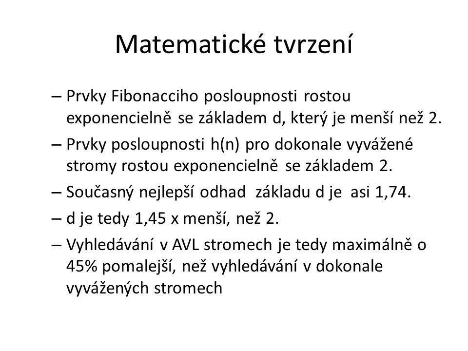 Matematické tvrzení – Prvky Fibonacciho posloupnosti rostou exponencielně se základem d, který je menší než 2. – Prvky posloupnosti h(n) pro dokonale