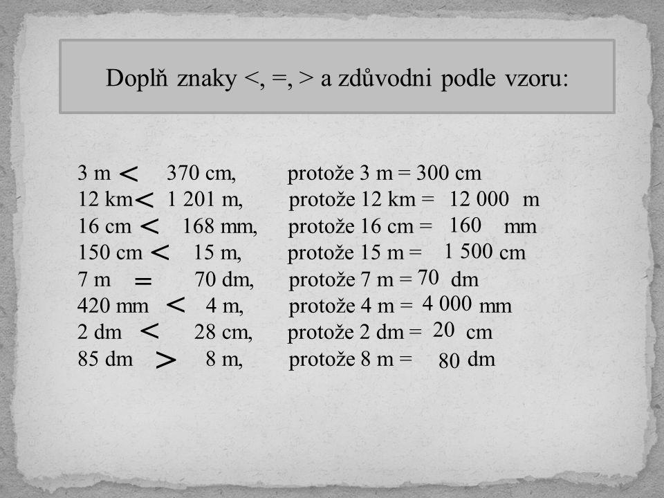 Doplň znaky a zdůvodni podle vzoru: 3 m 370 cm, protože 3 m = 300 cm 12 km 1 201 m, protože 12 km = m 16 cm 168 mm, protože 16 cm = mm 150 cm 15 m, pr