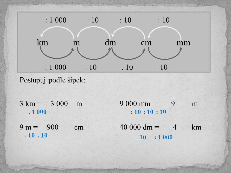 km m dm cm mm. 10. 1 000 : 10 : 1 000 Postupuj podle šipek: 3 km = m. 1 000 3 000 9 m = cm. 10 90040 000 dm = km 9 000 mm = m : 10 9 : 1 000 4
