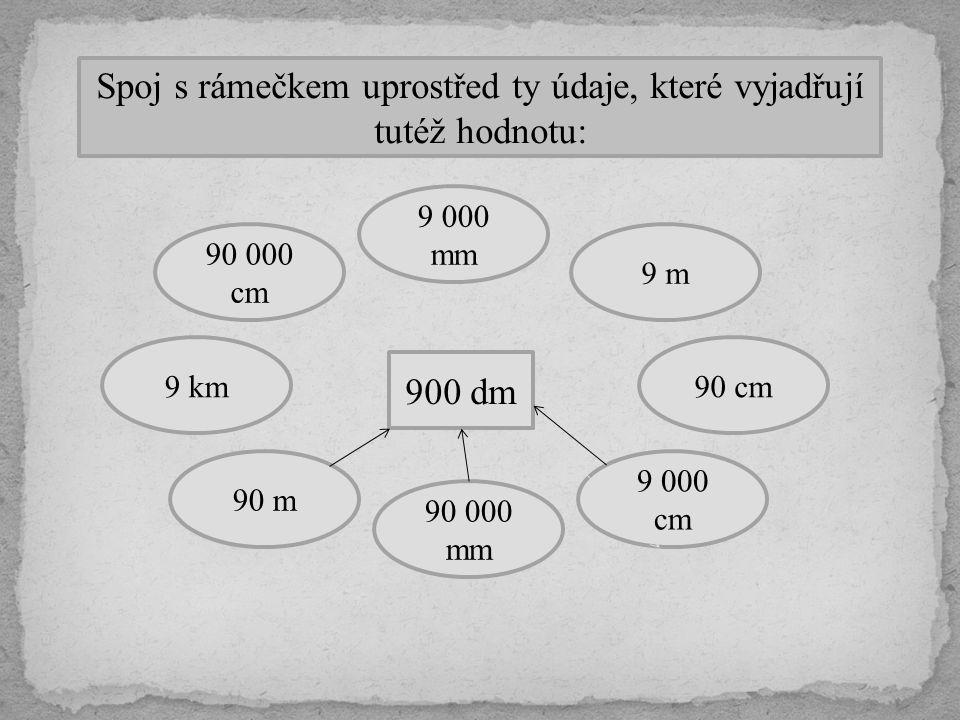 Spoj s rámečkem uprostřed ty údaje, které vyjadřují tutéž hodnotu: 900 dm 90 cm 9 000 cm 9 m 9 000 mm 90 000 cm 90 000 mm 90 m 9 km