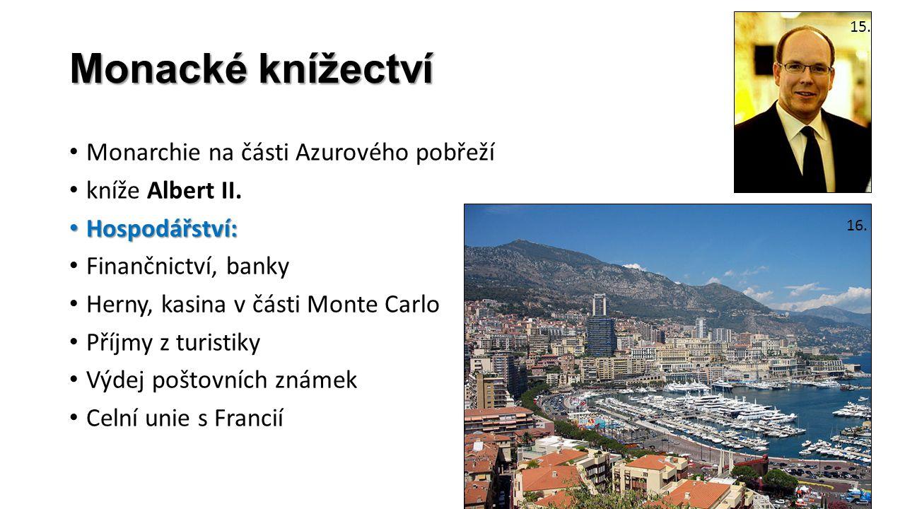 Monacké knížectví Monarchie na části Azurového pobřeží kníže Albert II. Hospodářství: Hospodářství: Finančnictví, banky Herny, kasina v části Monte Ca