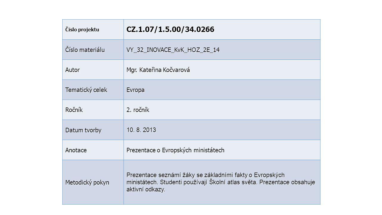 Číslo projektu CZ.1.07/1.5.00/34.0266 Číslo materiálu VY_32_INOVACE_KvK_ HOZ _2E_14 Autor Mgr. Kateřina Kočvarová Tematický celek Evropa Ročník 2. r o