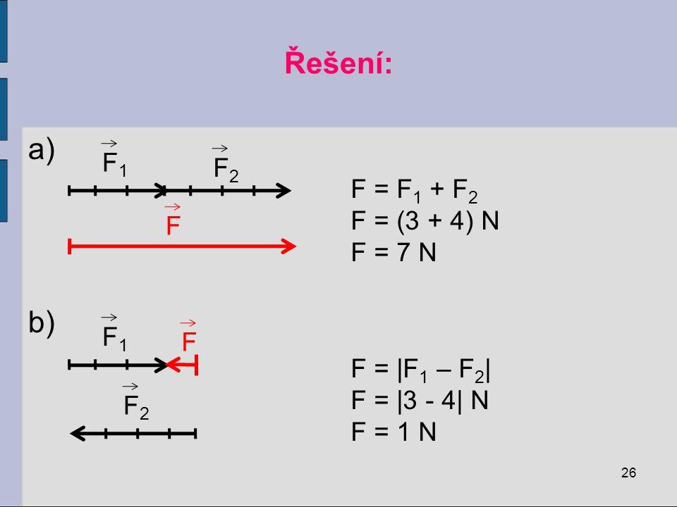 P ř íklad: V určitém bodě tělesa působí současně dvě síly o velikostech F 1 = 3 N a F 2 = 4 N. Urči graficky a početně velikost jejich výslednice, jso