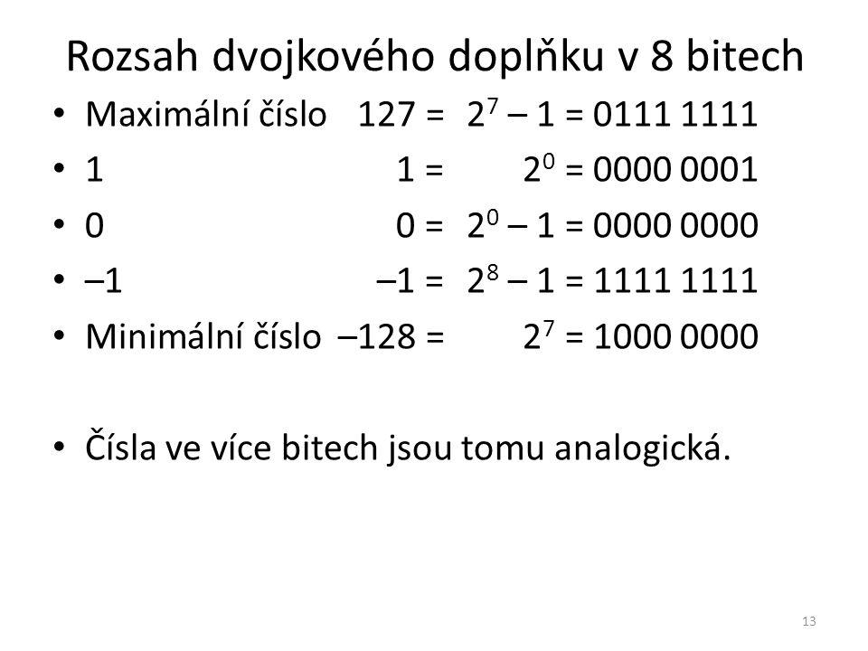 Rozsah dvojkového doplňku v 8 bitech Maximální číslo127 =2 7 – 1= 0111 1111 11 =2 0 = 0000 0001 00 =2 0 – 1= 0000 0000 –1–1 =2 8 – 1= 1111 1111 Minimá