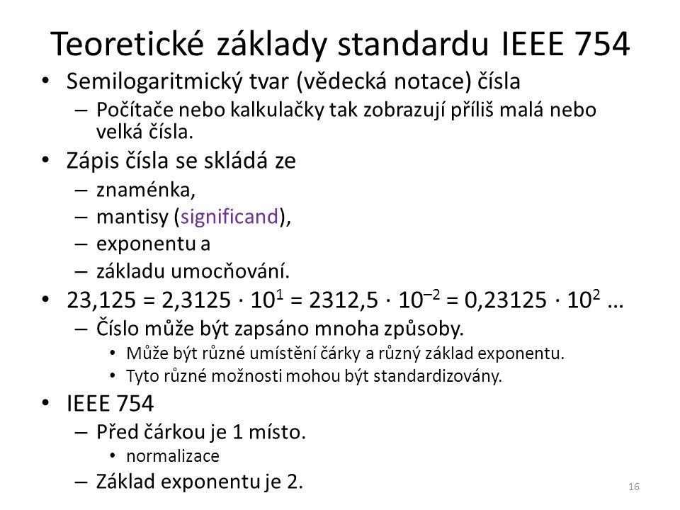 Teoretické základy standardu IEEE 754 Semilogaritmický tvar (vědecká notace) čísla – Počítače nebo kalkulačky tak zobrazují příliš malá nebo velká čís
