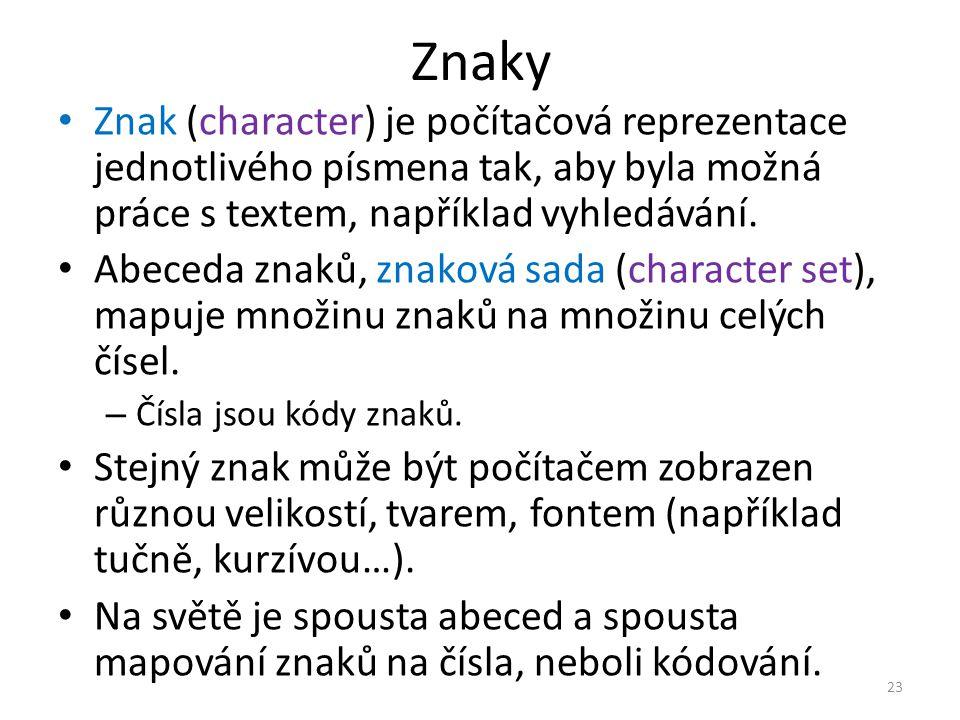 Znaky Znak (character) je počítačová reprezentace jednotlivého písmena tak, aby byla možná práce s textem, například vyhledávání. Abeceda znaků, znako