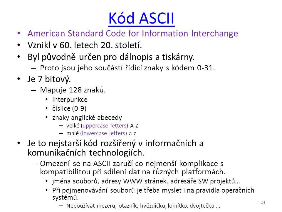 Kód ASCII American Standard Code for Information Interchange Vznikl v 60. letech 20. století. Byl původně určen pro dálnopis a tiskárny. – Proto jsou