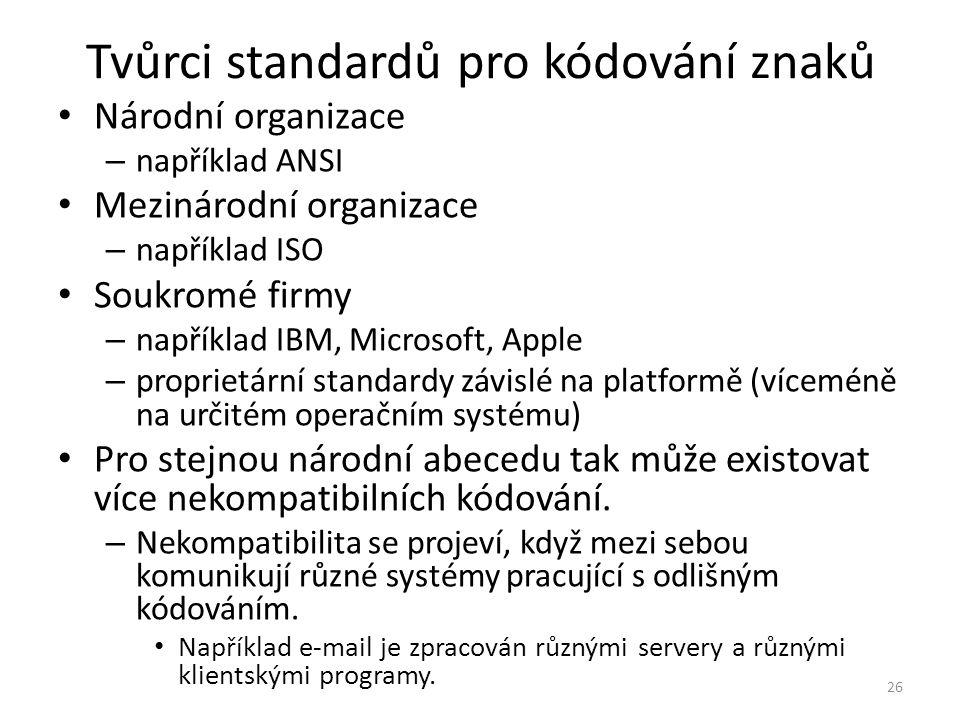 Tvůrci standardů pro kódování znaků Národní organizace – například ANSI Mezinárodní organizace – například ISO Soukromé firmy – například IBM, Microso