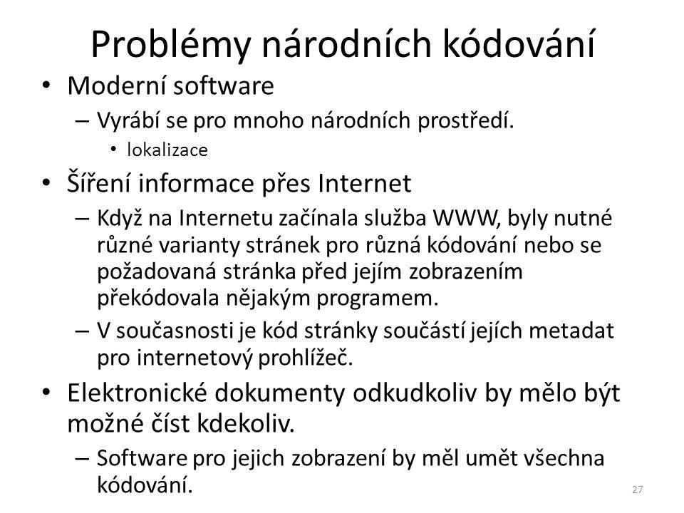 Problémy národních kódování Moderní software – Vyrábí se pro mnoho národních prostředí. lokalizace Šíření informace přes Internet – Když na Internetu