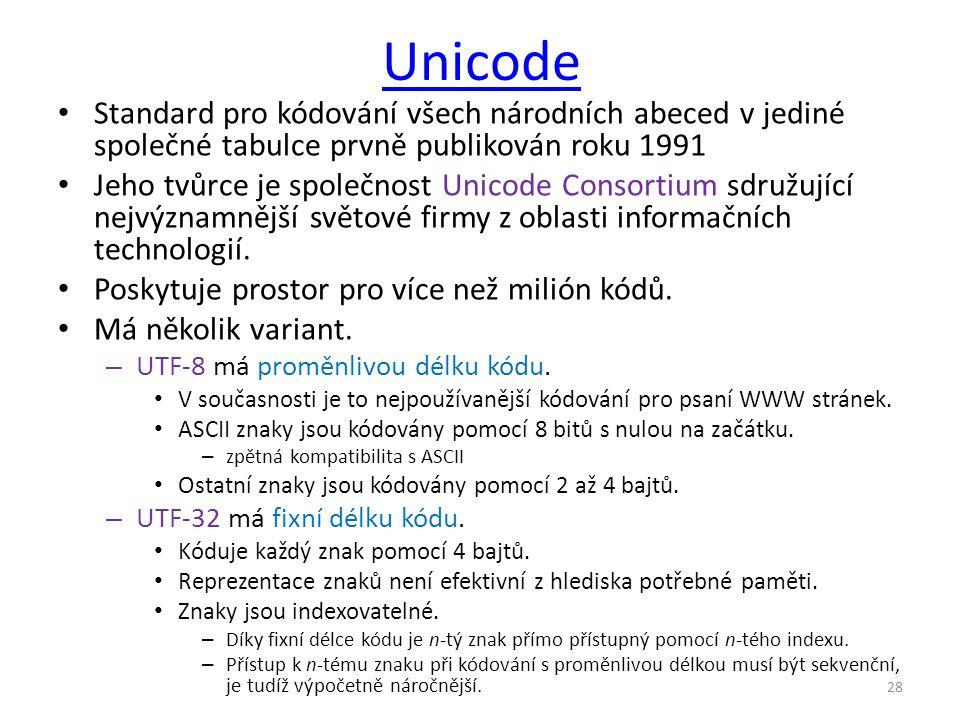 Unicode Standard pro kódování všech národních abeced v jediné společné tabulce prvně publikován roku 1991 Jeho tvůrce je společnost Unicode Consortium