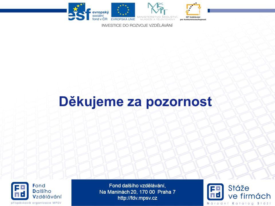 Fond dalšího vzdělávání, Na Maninách 20, 170 00 Praha 7 http://fdv.mpsv.cz Děkujeme za pozornost