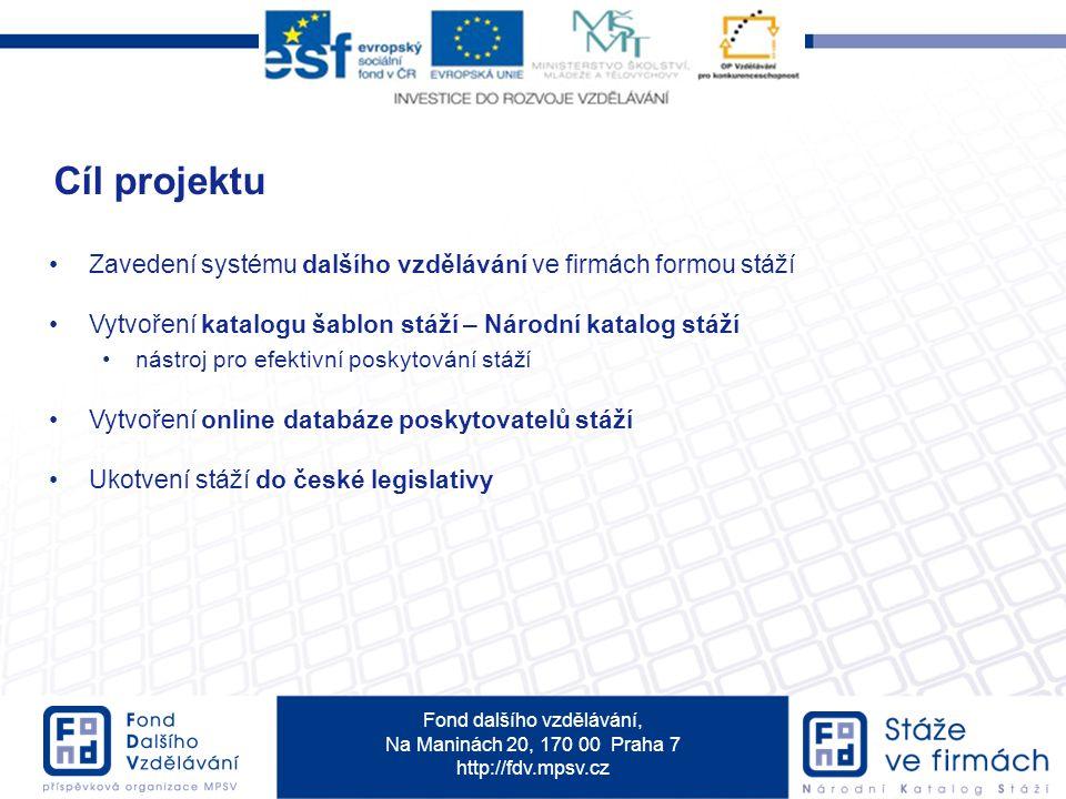 Fond dalšího vzdělávání, Na Maninách 20, 170 00 Praha 7 http://fdv.mpsv.cz Zavedení systému dalšího vzdělávání ve firmách formou stáží Vytvoření katal