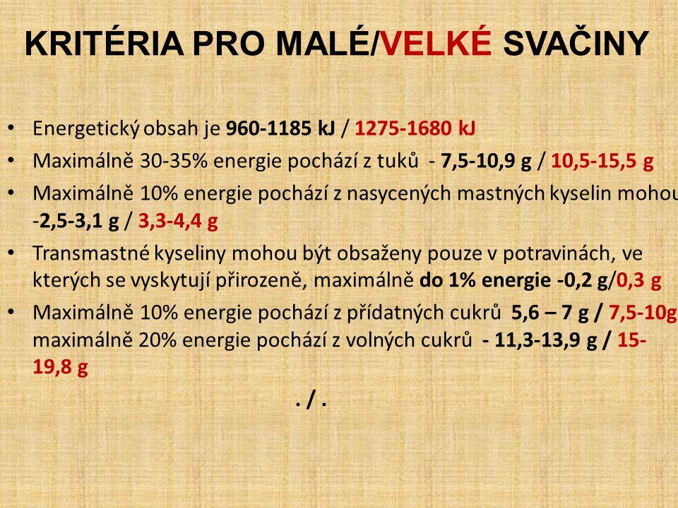 KRITÉRIA PRO MALÉ/VELKÉ SVAČINY Energetický obsah je 960-1185 kJ / 1275-1680 kJ Maximálně 30-35% energie pochází z tuků - 7,5-10,9 g / 10,5-15,5 g Max