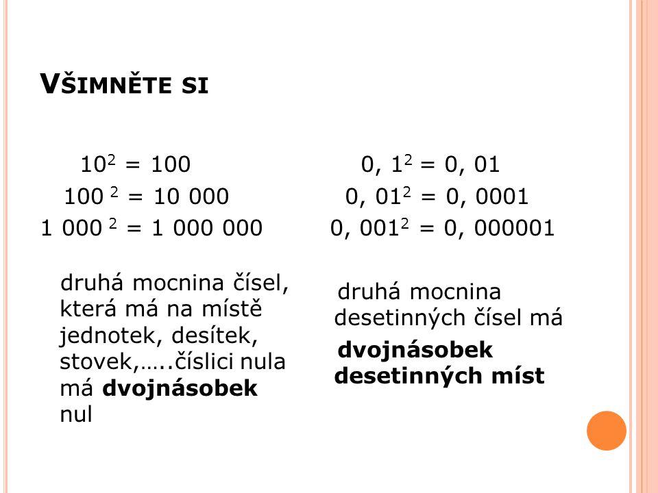 V ŠIMNĚTE SI 10 2 = 100 100 2 = 10 000 1 000 2 = 1 000 000 druhá mocnina čísel, která má na místě jednotek, desítek, stovek,…..číslici nula má dvojnás