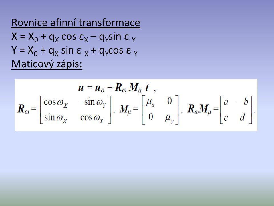 Rovnice afinní transformace X = X 0 + q X cos ε X – q Y sin ε Y Y = X 0 + q X sin ε X + q Y cos ε Y Maticový zápis: