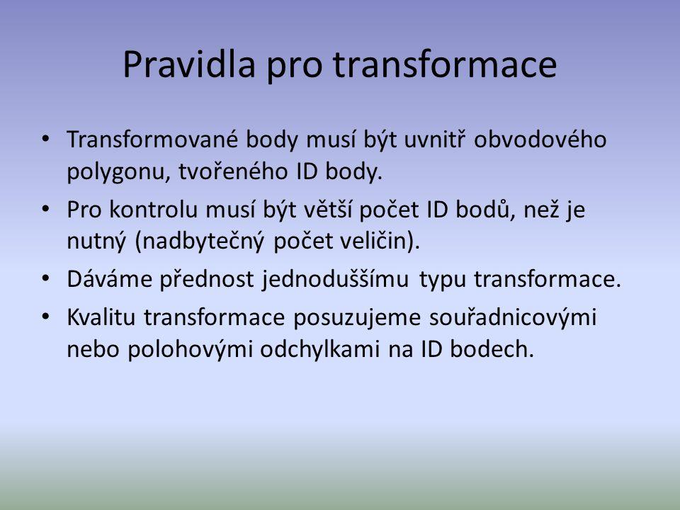 Pravidla pro transformace Transformované body musí být uvnitř obvodového polygonu, tvořeného ID body. Pro kontrolu musí být větší počet ID bodů, než j