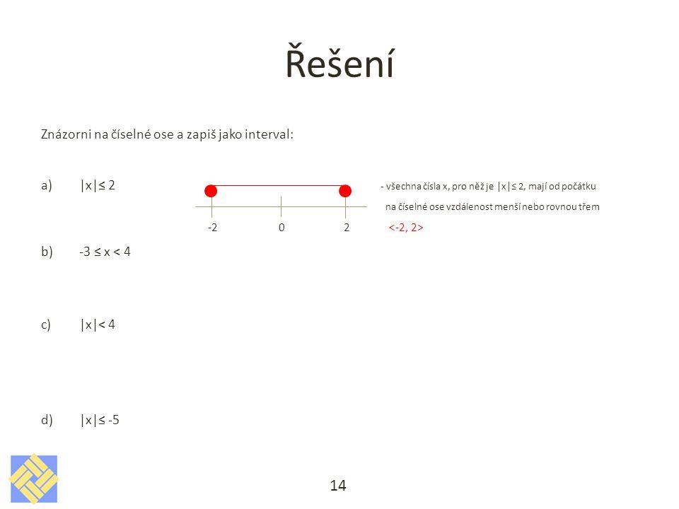 Řešení Znázorni na číselné ose a zapiš jako interval: a)|x|≤ 2 - všechna čísla x, pro něž je |x|≤ 2, mají od počátku na číselné ose vzdálenost menší nebo rovnou třem -2 0 2 b)-3 ≤ x < 4 c)|x|< 4 d)|x|≤ -5 14