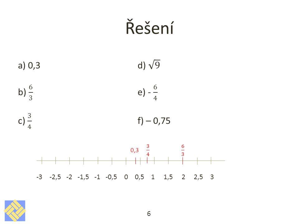 Řešení Znázorni na číselné ose a zapiš jako interval: a)|x|≤ 2 - všechna čísla x, pro něž je |x|≤ 2, mají od počátku na číselné ose vzdálenost menší nebo rovnou třem -2 0 2 b)-3 ≤ x < 4 -3 0 4 <-3, 4) c)|x|< 4 -4 0 4 (-4, 4) d)|x|≤ -5 NELZE, absolutní hodnota čísla je vždy číslo kladné.
