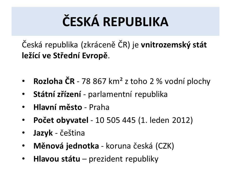 ČESKÁ REPUBLIKA Česká republika (zkráceně ČR) je vnitrozemský stát ležící ve Střední Evropě.