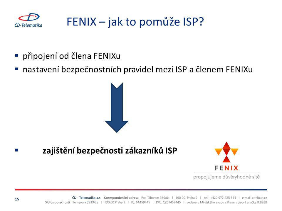 FENIX – jak to pomůže ISP? 15  připojení od člena FENIXu  nastavení bezpečnostních pravidel mezi ISP a členem FENIXu  zajištění bezpečnosti zákazní