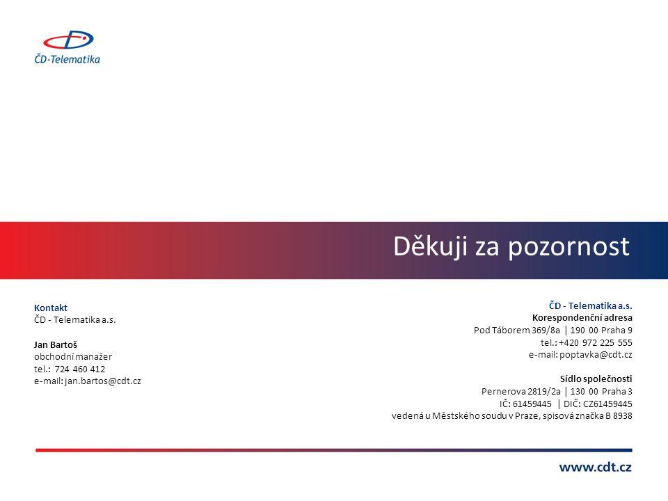 Děkuji za pozornost Kontakt ČD - Telematika a.s. Jan Bartoš obchodní manažer tel.: 724 460 412 e-mail: jan.bartos@cdt.cz ČD - Telematika a.s. Korespon