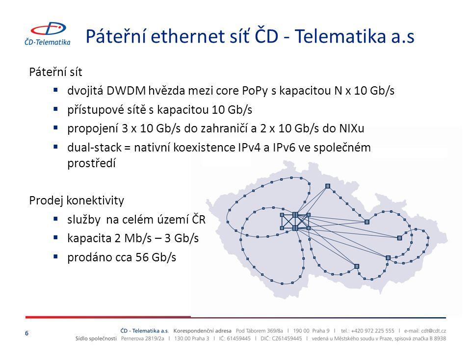 Páteřní ethernet síť ČD - Telematika a.s 6 Páteřní sít  dvojitá DWDM hvězda mezi core PoPy s kapacitou N x 10 Gb/s  přístupové sítě s kapacitou 10 G