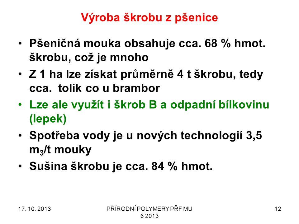 Výroba škrobu z pšenice 17.10. 2013PŘÍRODNÍ POLYMERY PŘF MU 6 2013 12 Pšeničná mouka obsahuje cca.
