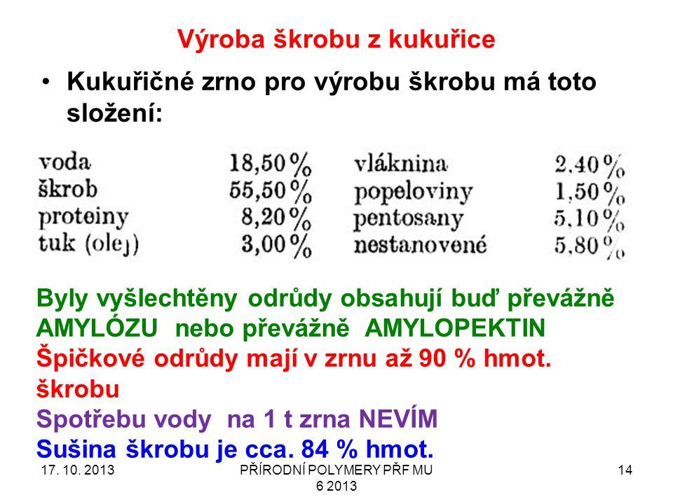Výroba škrobu z kukuřice 17.10.