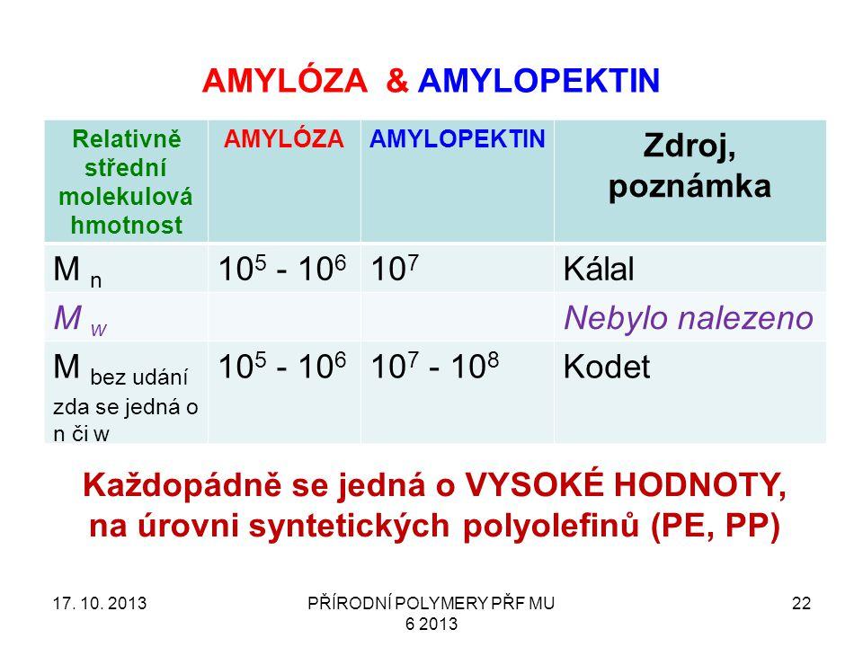 AMYLÓZA & AMYLOPEKTIN Relativně střední molekulová hmotnost AMYLÓZAAMYLOPEKTIN Zdroj, poznámka M n 10 5 - 10 6 10 7 Kálal M w Nebylo nalezeno M bez udání zda se jedná o n či w 10 5 - 10 6 10 7 - 10 8 Kodet 17.