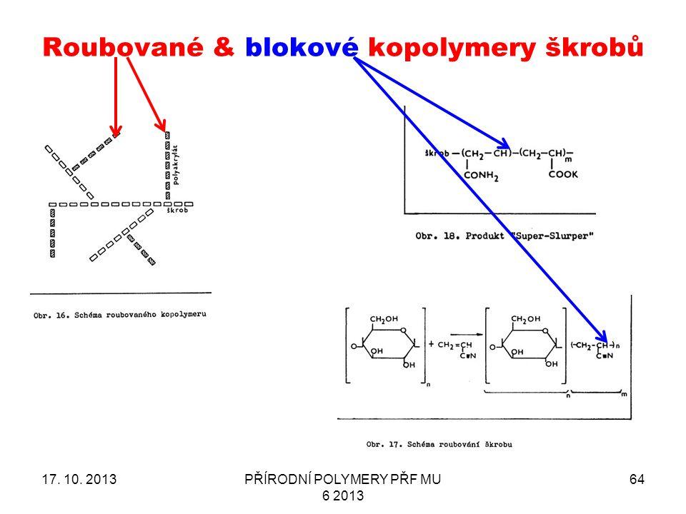 Roubované & blokové kopolymery škrobů 17. 10. 2013PŘÍRODNÍ POLYMERY PŘF MU 6 2013 64