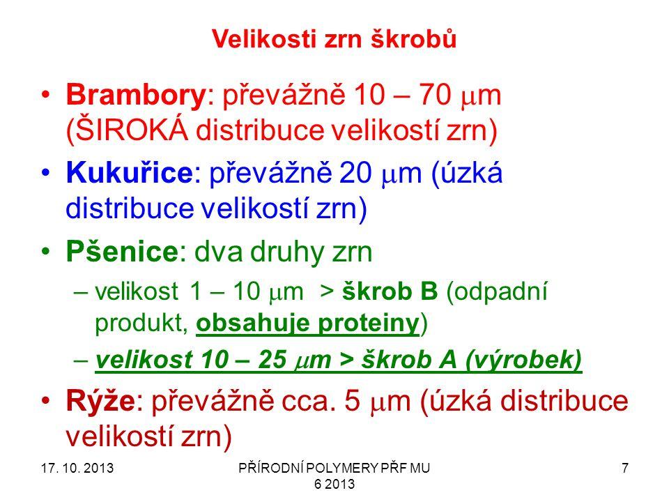 Velikosti zrn škrobů 17.10.
