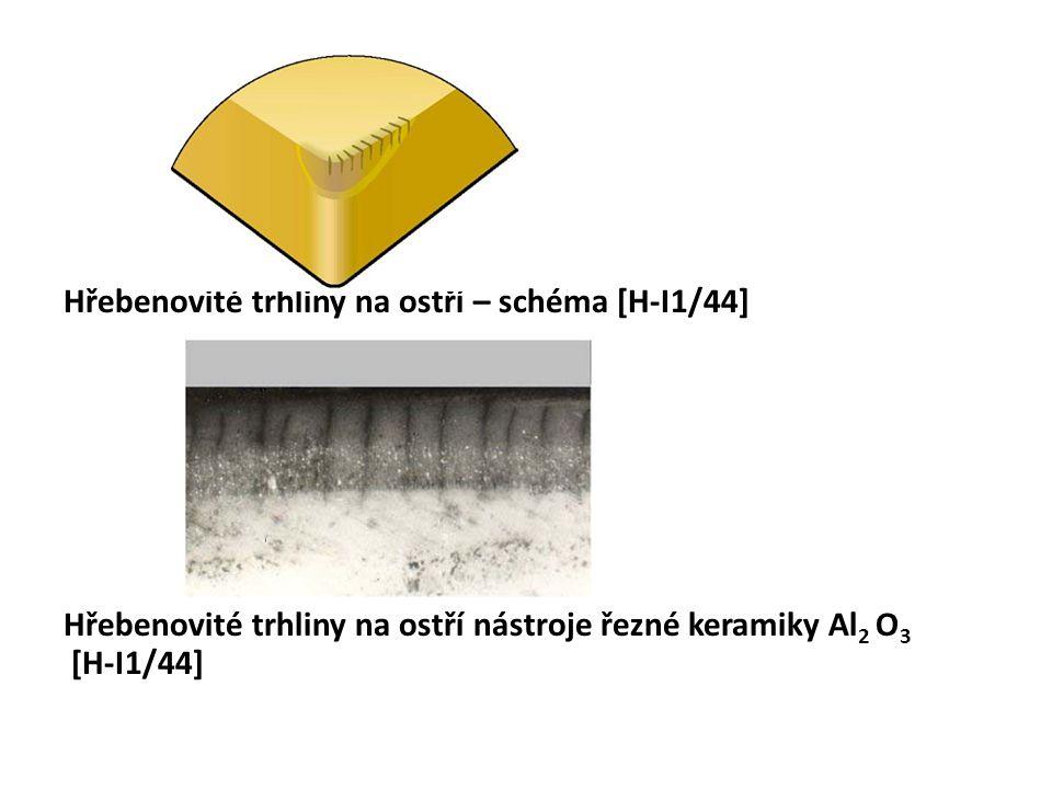 Hřebenovité trhliny na ostří – schéma [H-I1/44] Hřebenovité trhliny na ostří nástroje řezné keramiky Al 2 O 3 [H-I1/44]