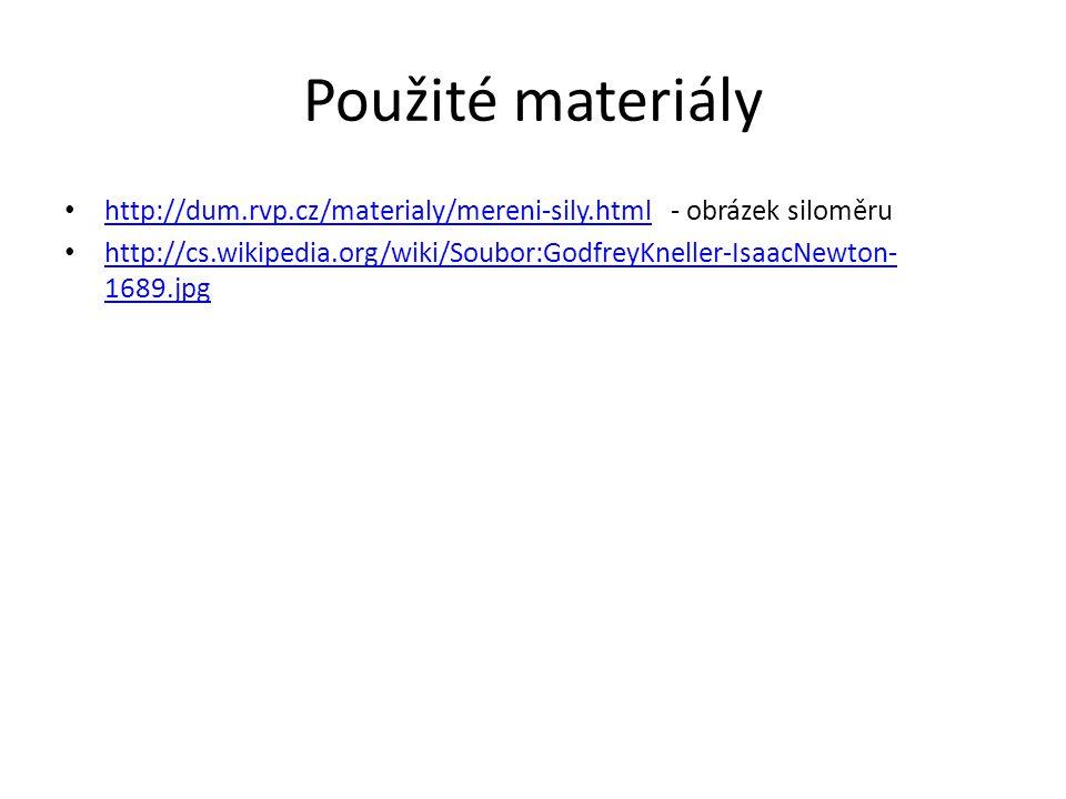 Použité materiály http://dum.rvp.cz/materialy/mereni-sily.html - obrázek siloměru http://dum.rvp.cz/materialy/mereni-sily.html http://cs.wikipedia.org